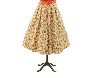 Vintage 1960's High Belted Waist Orange + Green Woodland Floral Novelty Print Full Circle Skirt S