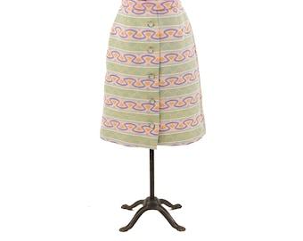 Vintage 1970's Pastel Pink Green Purple Abstract Mod Op Art Ethnic Novelty Print High Waist Skirt S
