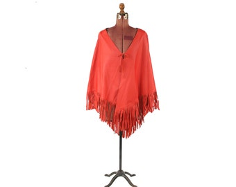 Vintage 1970's Vibrant Red Leather Boho Fringe Tassel Angled Cape Festival Poncho Jacket Coat L