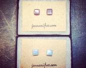 ON SALE Cube Post Earrings - Glass Tile Stud Earrings - Geometric Minimal Jewelry - Titanium Post - For Sensitive Ears - Square Earring - Mu