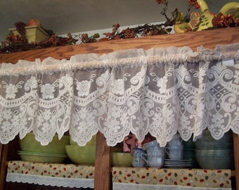 "Pretty 60"" Vintage Cream or Ivory Victorian Floral Lace Valance (DM-5)"