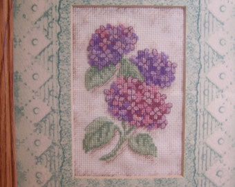 Handmade Counted Cross Stitch Framed Picture of Hydrangeas 10 x 12 Inches