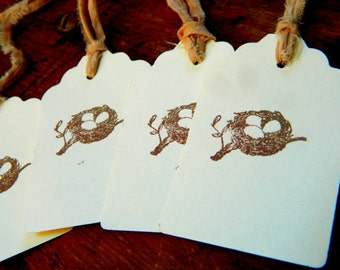 Tiny Nest - Ivory tags - Distressed tea stained cotton ties -  Baby Shower, Housewarming  Bridal shower -  Set of 10