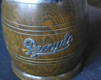antique oak wood biscuit barrel