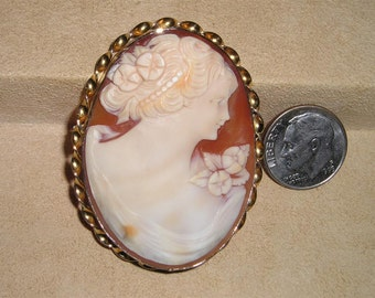 Vintage Large Gold Filled Brooch With Real Carved Shell Cameo 1940's Signed Jewelry Pin 2059