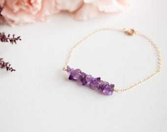 Amethyst Bar Bracelet on  Gold-Filled Chain - Bridesmaid Bracelet -  Ready-to-wear Minimalist  and Fashion Jewel.