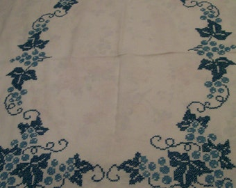 Turquoise Embroidered Tablecloth Vintage Cross Stitched Table Cloth