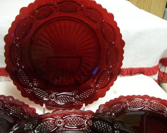 "Cape Cod Plate Ruby Red 7"" Dessert or Salad Plate Vintage Made by Fostoria for Avon 3 Available"