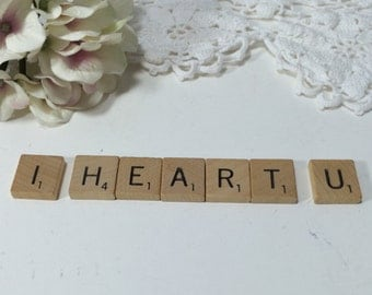 "Scrabble Tiles ""I Heart U"" , Valentine's Day, Photo Prop, Scrapbooking, Card Making, Wedding Decor Anniversary, Hobbyist, Crafter,"