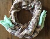 Mint leopard print scarf