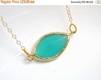SALE Mint Blue Necklace, Gold Filled, Aqua, Turquoise, Weddings, Bridal Jewelry, Bridesmaid Jewelry, Bridesmaid Necklace, Bridesmaid Gifts