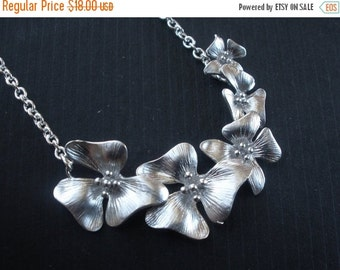 SALE Flower Necklace, Silver Flower Necklace, Silver Orchid Necklace, Silver Necklace, Five Orchid, Wedding Bridesmaid Gifts, Bridesmaids Je