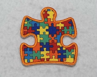 Autism Awareness Puzzle Piece (large) Tutu & Shirt Supplies - fabric iron on Applique Patch p 7688
