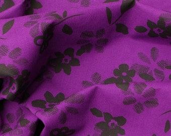 C209 - 145cmx100cm Cotton  Fabric - Flower on Deep Purple