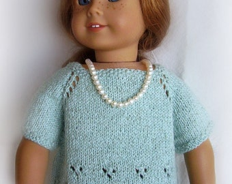 American Girl Doll Clothes - Hand Knit Sweater - Summer Convertible Sweater - Cardigan or Pullover - Ionic Blue - 18 Inch Doll Clothes