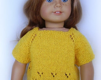 American Girl Doll Clothes - Hand Knit Sweater - Summer Convertible Sweater - Cardigan or Pullover - Golden Yellow/Maize - 18 Inch Doll