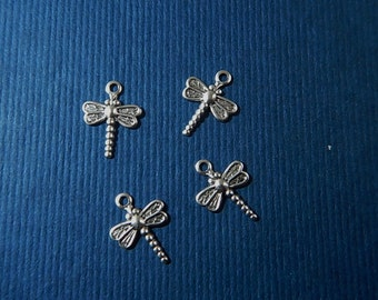 4 Pc Tiny Dragonfly Silver Ox Charms Stamping One Sided Jewelry Collage Mixed Media Altered Art