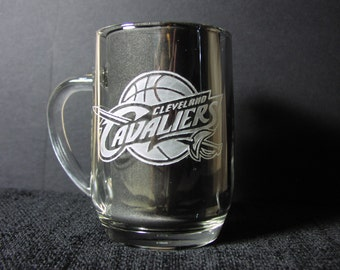 NBA Championship Beer Mugs, Cleveland Cavalier Mugs, Etched Mug, Personalized Sports Mug