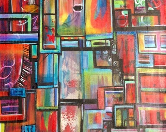 Original acrylic painting, giving thanks blocks and blessings