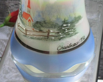 Vintage QVC Fenton Christmas 1990 Hand Painted Iridescent Bell Church in Snowy Country Winter Scene - FREE SHIPPING