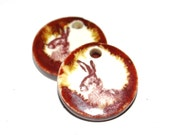 Unusual Ceramic Rabbit Hare Earring Charms Pair Rustic Stoneware Pottery Wildlife