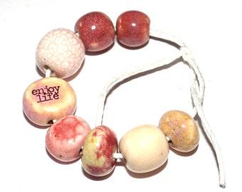 Ceramic Word Quote Bead Set Stoneware Handmade Pottery Beads Positivity Affirmation Pinks