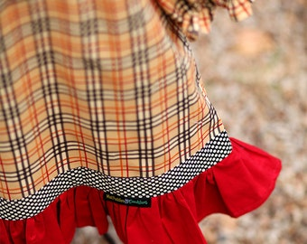 Autumn Plaid Long Sleeve Dress with Ruffle and Button Accents