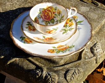 Romany Rose Royal Standard Bone China Tea Cup, Saucer and Cake Dessert Plate Yellow Roses with Gold Trim