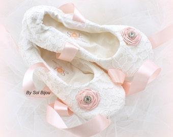 Girl Flats,White, Pink,Blush,Ballet Flats,Elegant,Lace Flats,Confirmation,Flower Girl,Bat Mitzvah,First Communion,Prom,Ballerina Slippers