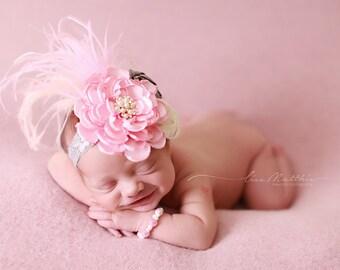 Shabby Chic Newborn Headband, Baby Girl Headband,  Photo Prop, Hair Accessory