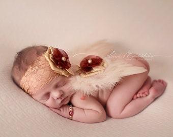 Newborn Ivory Angel Wings, With Matching Stretch Lace Headband, Newborn Photo Prop, Beautiful