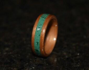Hand Made ( Bentwood Method )  Malachite Inlayed Cherry Wooden Ring