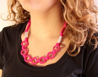 "Pink""o"" - Cotton Necklace - Yarn cotton - Pink - ecologic cotton"
