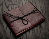 Antique Red Leather Journal or Leather Sketchbook, Large Sized, Handbound Photo Album