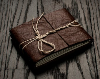 Leather Journal or Leather Sketchbook, Pocket Sized, Rustic Brown Leather Handbound Notebook