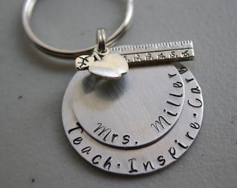 Teacher Keychain, Teach Inspire Care Teacher Appreciation Gift, Apple and Ruler Charms