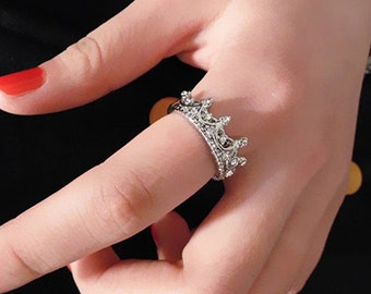 Ring, tiara ring, crown ring , silver plated ring, crown ring, ready to ship, crystal ring, princess ring, sizes 5, 5.5, 6, 6.5, 7.5, 8