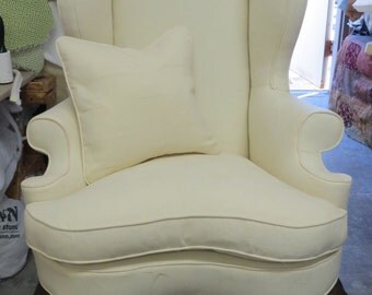 Summer Sale - Stately Curved Cushion Wing Chair w/Pillow in Cream Star - Totally Refurbished