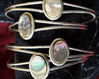 Vintage Abalone Mother of Pearl Oval Cuff Bracelet