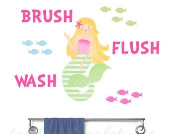Mermaid Wall Decal in Reusable Fabric Sticker - Girls Ocean Bath Stickers - Mermaid Decals - Mermaid Sea Bathroom Decals - Brush Flush Wash