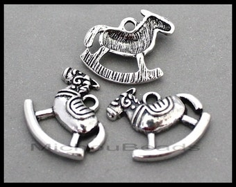 BULK 20 Rocking HORSE Charms - 17mm Antiqued Silver Child Baby Toy  Charms - Instant Ship - USA Wholesale Charms - Instant Shipping - 6723