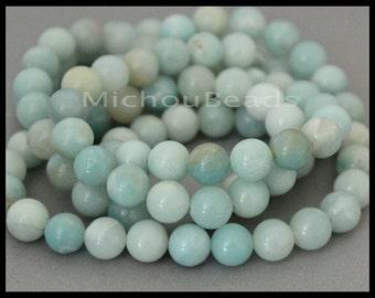 "16"" Strand - 8mm AMAZONITE Round Gemstone Beads - Genuine Natural semi precious Opaque Grade B Gemstone - Instant Shipping - USA  6802"
