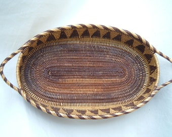 Handmade OVAL Woven Rattan Basket Tribal Decor