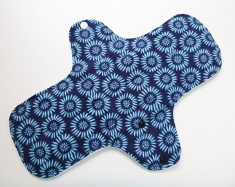 12 inch cloth pad - cloth menstrual pad - mama cloth - plus size cloth pad - heavy flow pad - blue abstract floral flannel top ready to ship
