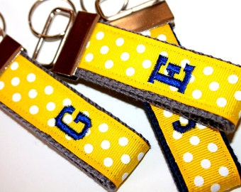 Yellow Personalized Key Fob Fabric Key chain Bridal Party Gift Teacher Gift Baby Shower Initial Key Fob Polka Dot Key Fob
