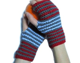 Knit fingerless glove mittens, Grey Blue Red Knit arm warmers, Knit wrist warmers, Cotton knit glove, Knitted glove mitten, Ready to Ship