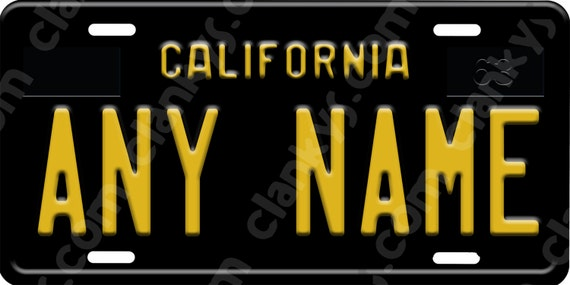 Custom Novelty Black California License Plate With By