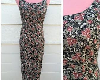 Ditsy floral black 90s maxi dress size medium