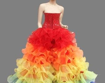 Vegas Organza Rainbow Gay Pride Ruffle Corset Skirt