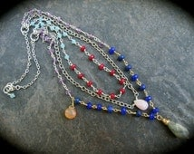 Rosary Style Layered Gemstone Necklace with Labradorite Lapis and Semi Precious Gemstone Beads Wire Wrapped Chain and Briolettes
